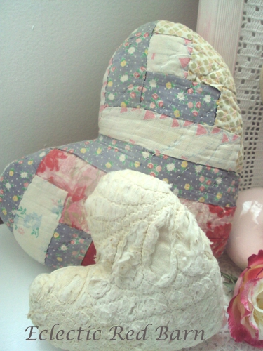 Vintage quilted hearts
