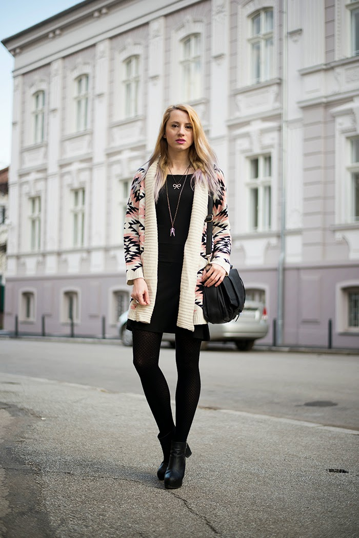 Skinny Buddha Sheinside graphic print cardigan black dress