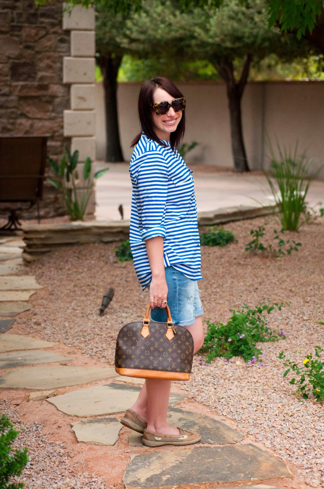 fashion blog, style blog, louis vuitton alma, sperry topsider for women, calvin klein striped shirt, boyfreind jeans