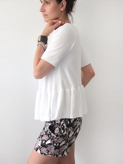 panterkowe szorty, modne szorty, bluzka baskinka, jak nosić bluzkę, naszyjnik czarne kamienie baskinkę