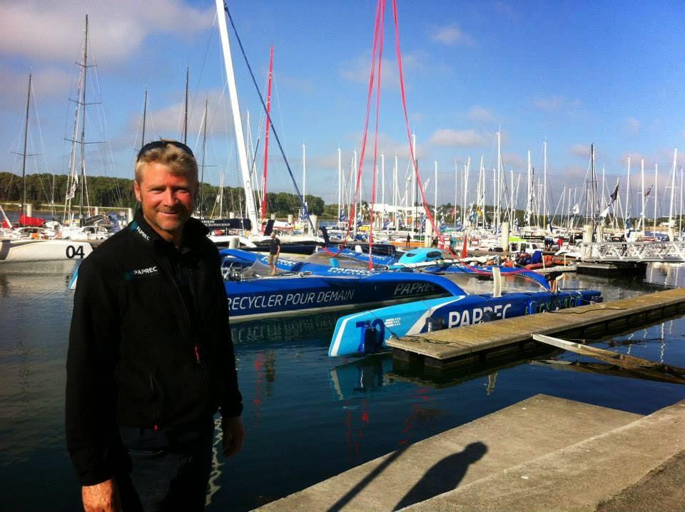 Yann Eliès bientôt sur l'eau avec son MOD70 pour la Route du Rhum.