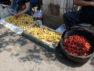 Cherries for sale at the Fahaisi street market in Beijing