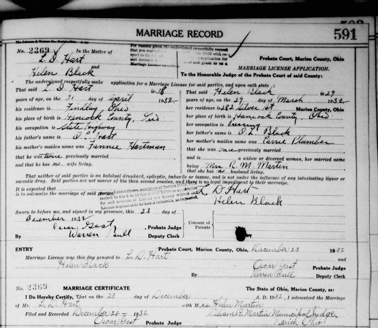 Climbing My Family Tree:Marriage Record for Lester Dene Hart and Helen Black (1932)