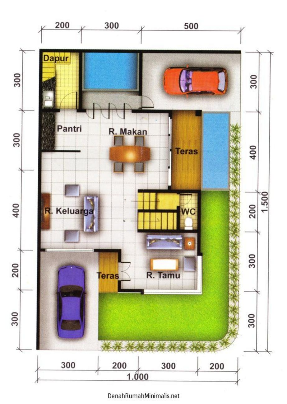 layout denah rumah type 36 hook menarik
