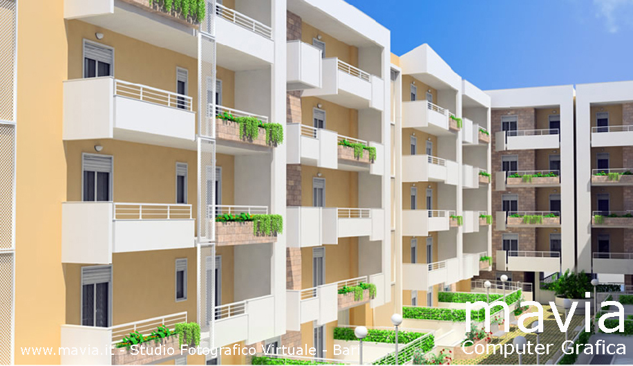 Esterni 3d rendering 3d architettura 3d edificio 2 for Rendering case moderne