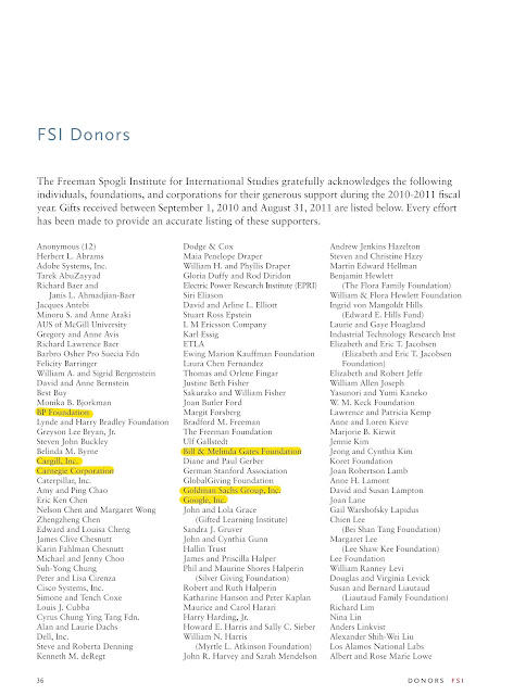 Cargill and Others Behind anti Organic Stanford Study  Standford FSI Page 38 Donors2