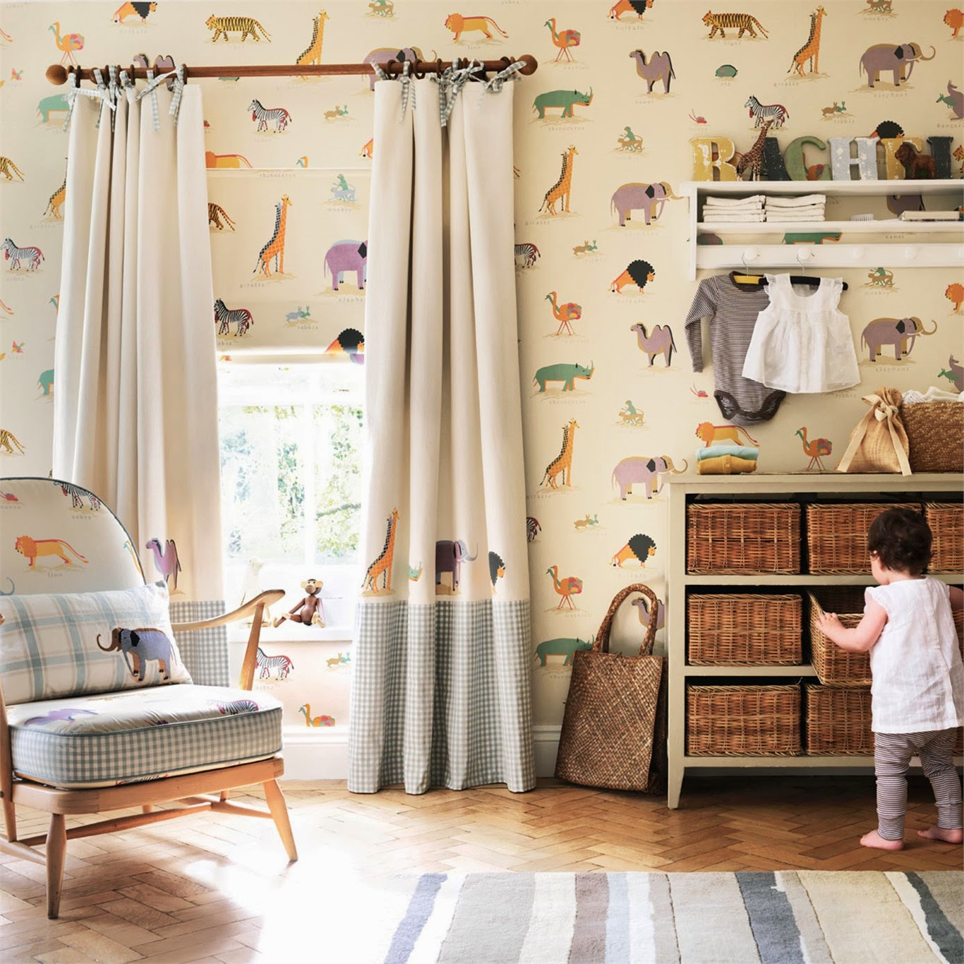 Just kids wallpaper blog little sanderson wallpaper two for Childrens bedroom curtain fabric