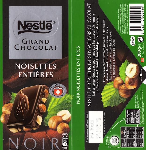 tablette de chocolat noir gourmand nestlé grand chocolat noir noisettes entières
