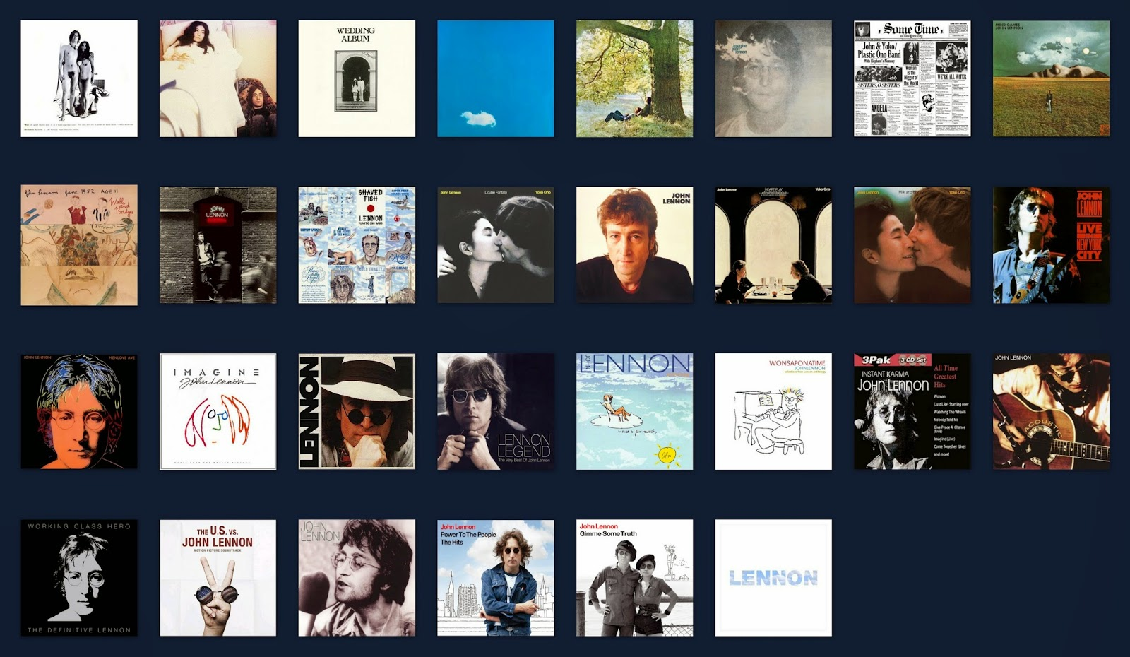 John Lennon UK Album Chart Positions