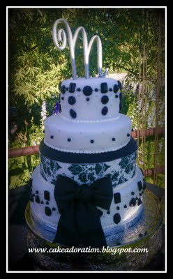 Black And White Damask Wedding Cake With Hand Made Poured Sugar Jewels