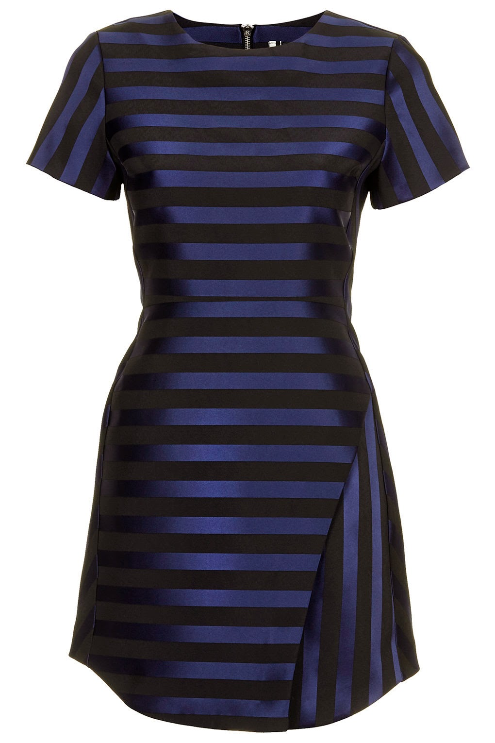 blue striped satin dress