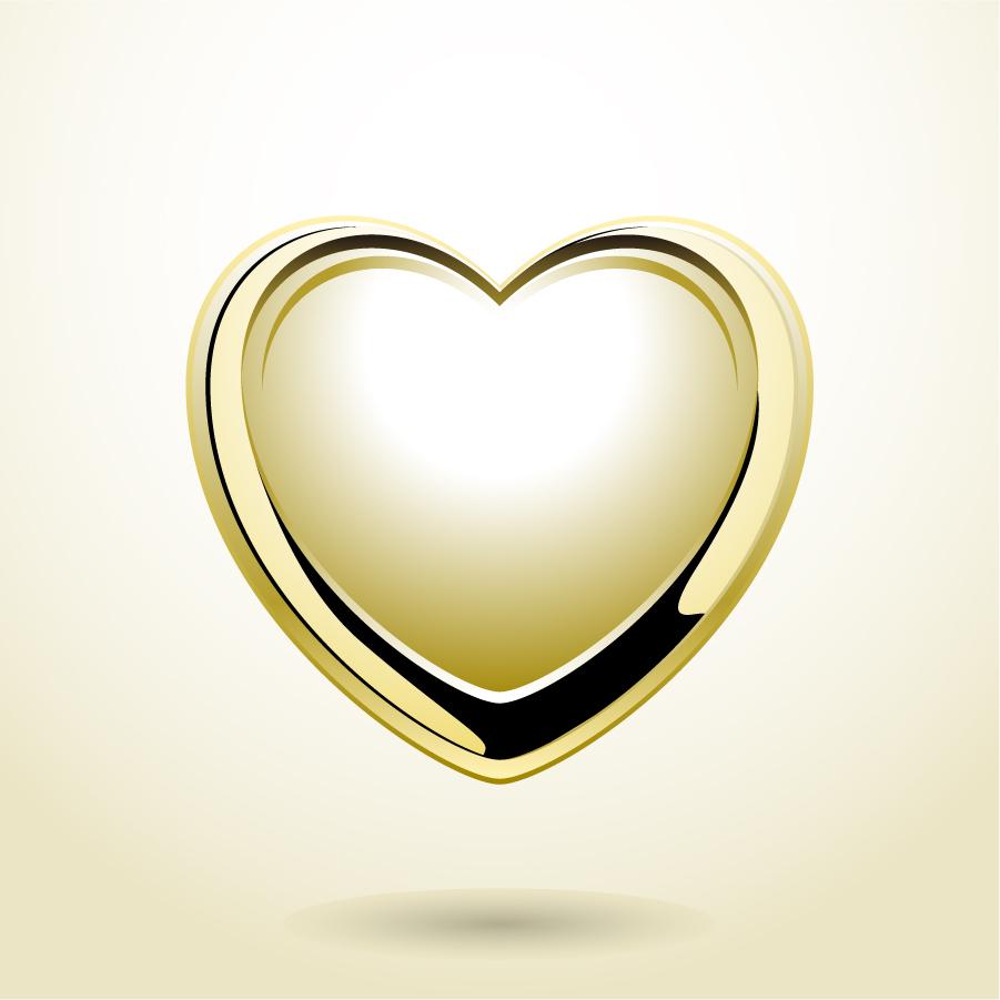 光沢あるハートのクリップアート red heart vector イラスト素材2