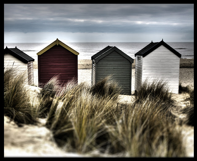 Beach Huts in Sand Dunes - Beach Houses - North Sea Coast - Photograph by Tim Irving