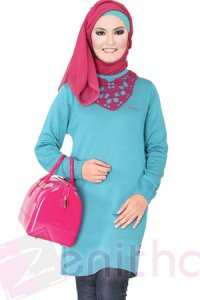 Zenitha Blus Zn125 - Toska (Toko Jilbab dan Busana Muslimah Terbaru)
