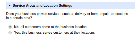 Google Places Service Area And Location Settings