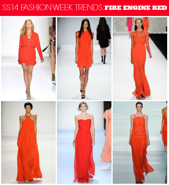 SS14 Runway Trends: Fire Engine Red // Click here for more fashion week #trend coverage http://lapetitefashionista.blogspot.com/2013/09/ss14-runway-trends-recap.html