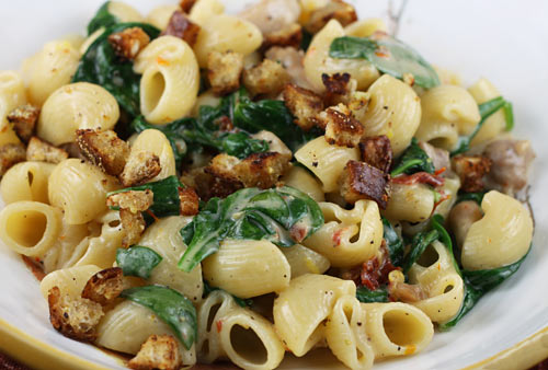 ... Sunday: Pasta with Mascarpone, chicken, sun dried tomatoes and spinach