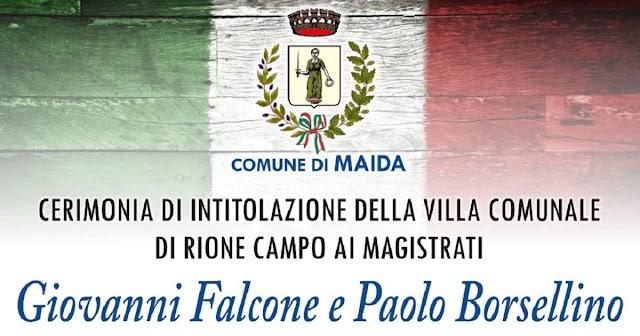 Maida celebra la Giornata nazionale per la legalità con l'intitolazione della Villa comunale di rione Campo ai giudici Falcone e Borsellino
