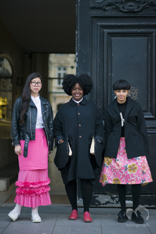 Sandy Park and Melissa Prospere and Laetitia Lotthe after Comme des Garcons show during Paris Fashion Week 2014 Fall Winter PFW Season