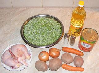ingrediente mancare de mazare cu carne si legume, cum se face mancarea de mazare congelata cu carne de pui si legume, retete culinare,