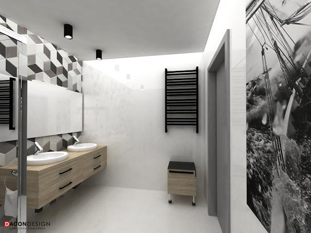 Dacon-Design-wnetrza-architekt-Wroclaw-projekt lazienki-plytki-heksagonalne-heksagony