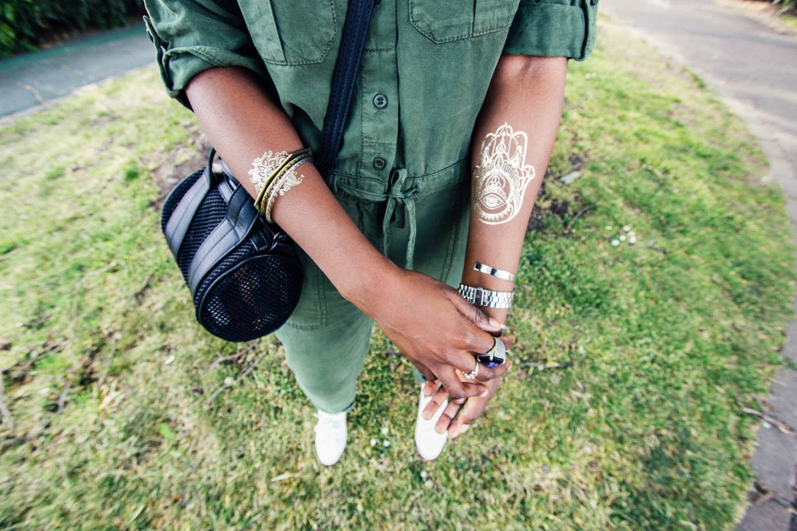 Metallic Hamsa Hand Temporary Tattoo
