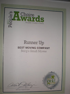 Boulder County Gold Runner Up for Best Moving Company 2011