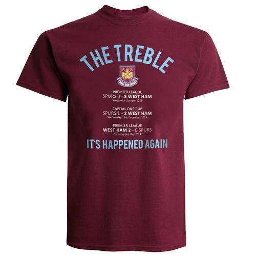 'Treble winners' West Ham release T-shirt celebrating three wins over Spurs last season