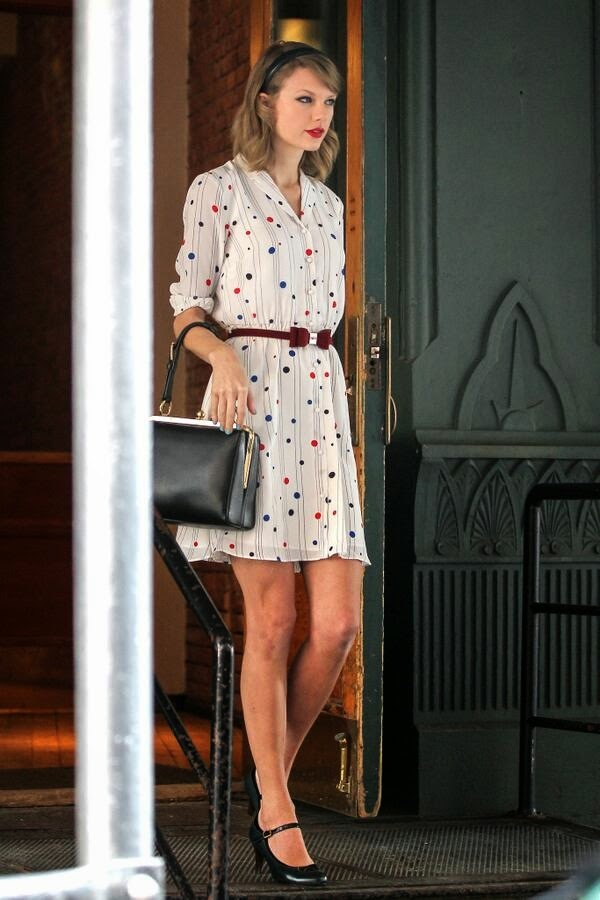 Taylor Swift sports a Zooey Deschanel for Tommy Hilfigier look in NY