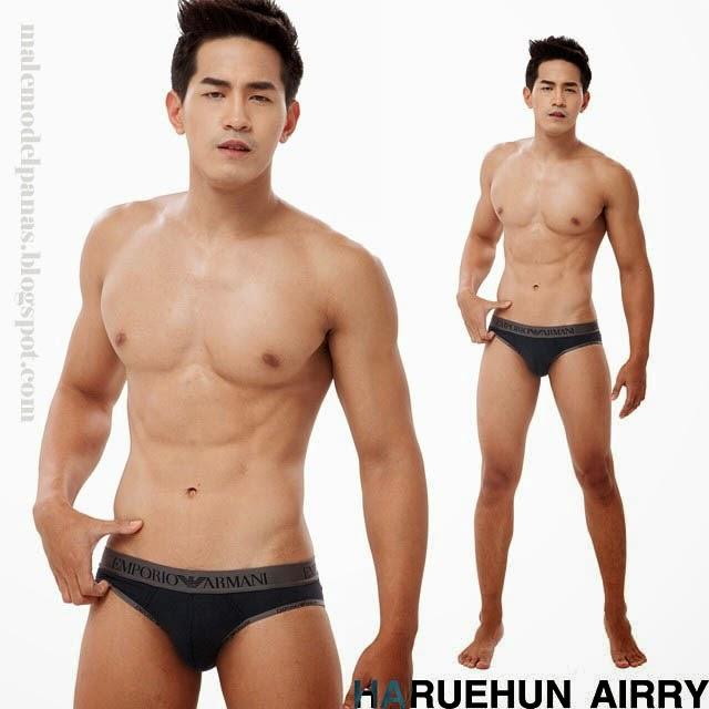 aun warit body with emporio armani underwear