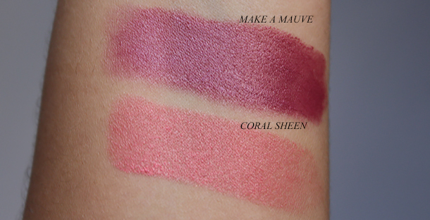 maybelline master glaze color studio blush sticks review swatches coral sheen make a mauve