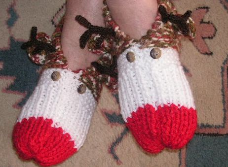 Knitting Galore Rudolf Slippers Free Knitting Pattern