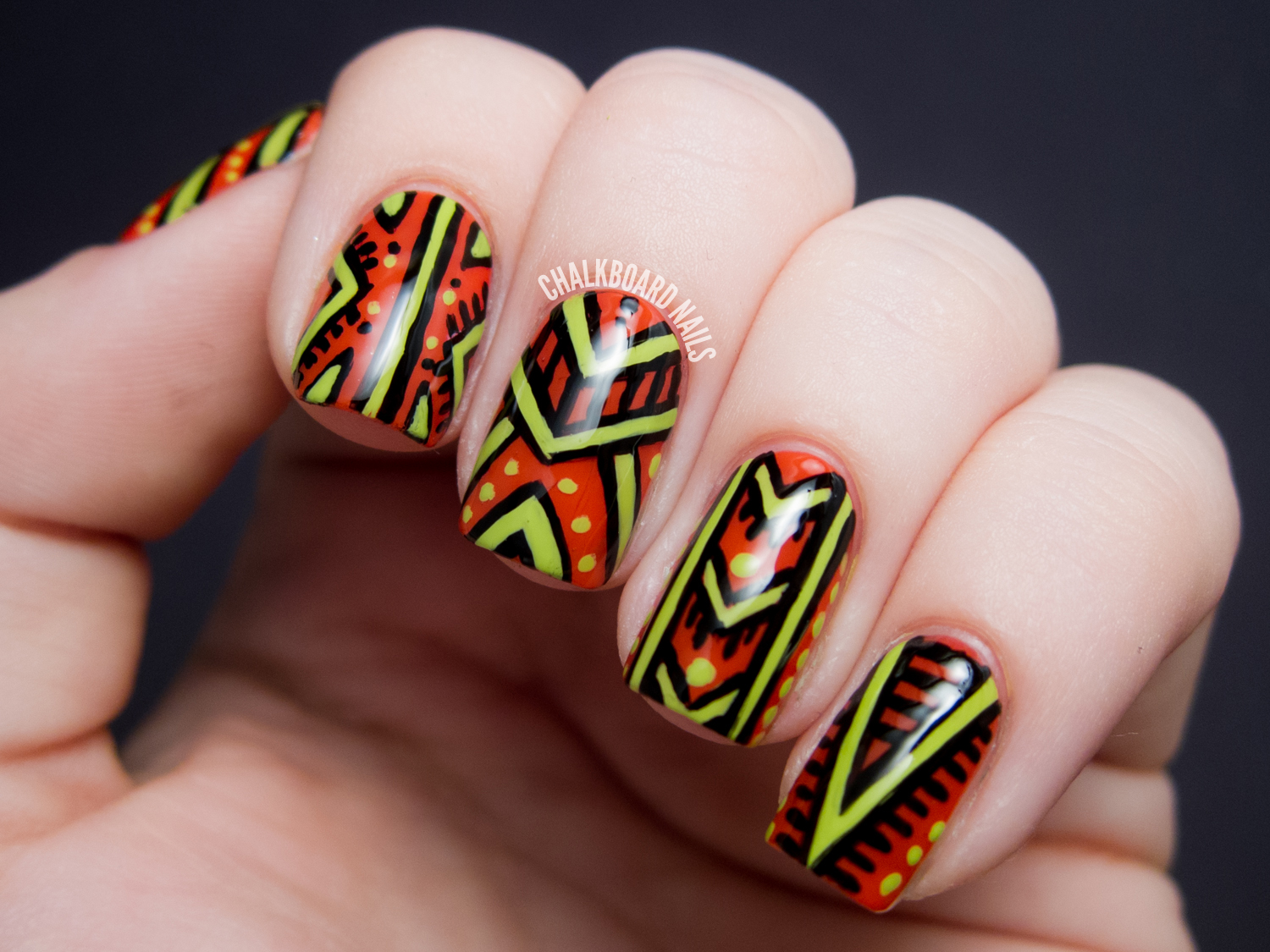 Of course I also tried the design mattified. I used OPI Matte Topcoat in  this case. I was really pleased with the quality of it! It dries very  matte, ... - African Patterned - Nicole By OPI Tink Nail Art Chalkboard Nails