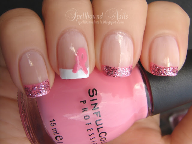 nails nailart nail art mani manicure Spellbound breast cancer awareness Susan G Komen for the cure support pink ribbon french tips glitter campaign October