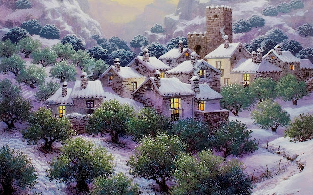 Nieve en Los Olivares Pintura de Luis Romero