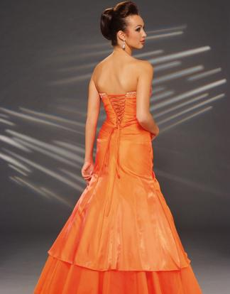 Slim corset a line strapless cathedral train wedding yellow dress
