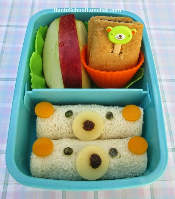 Bear roll ups sandwiches, bento school lunches