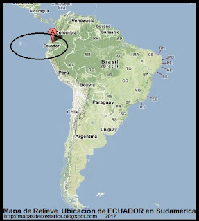 Mapa de Relieve. Ubicación de ECUADOR en Sudamérica