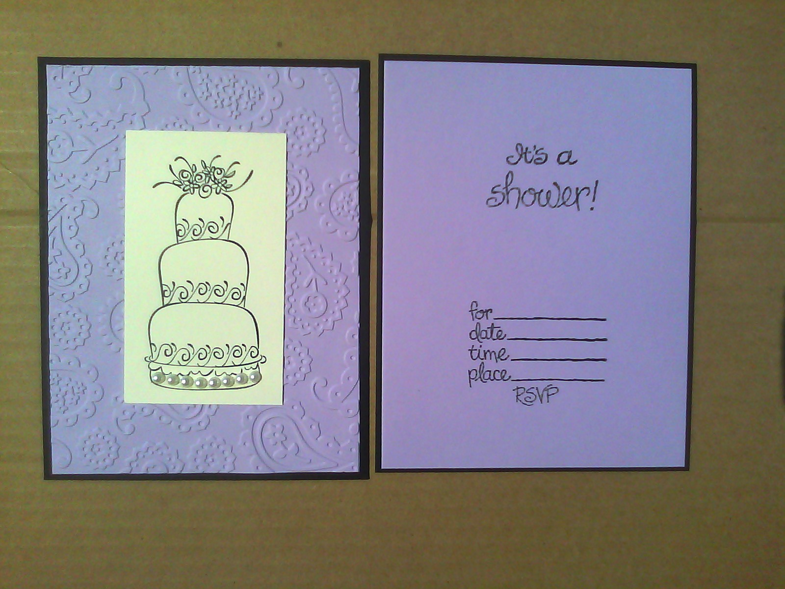 sistochris Scrapbooking and Paper Crafts: Handmade Stamped Wedding Shower Invitations