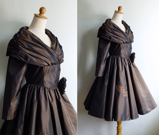 vintage 80's shawl collar taffeta dress