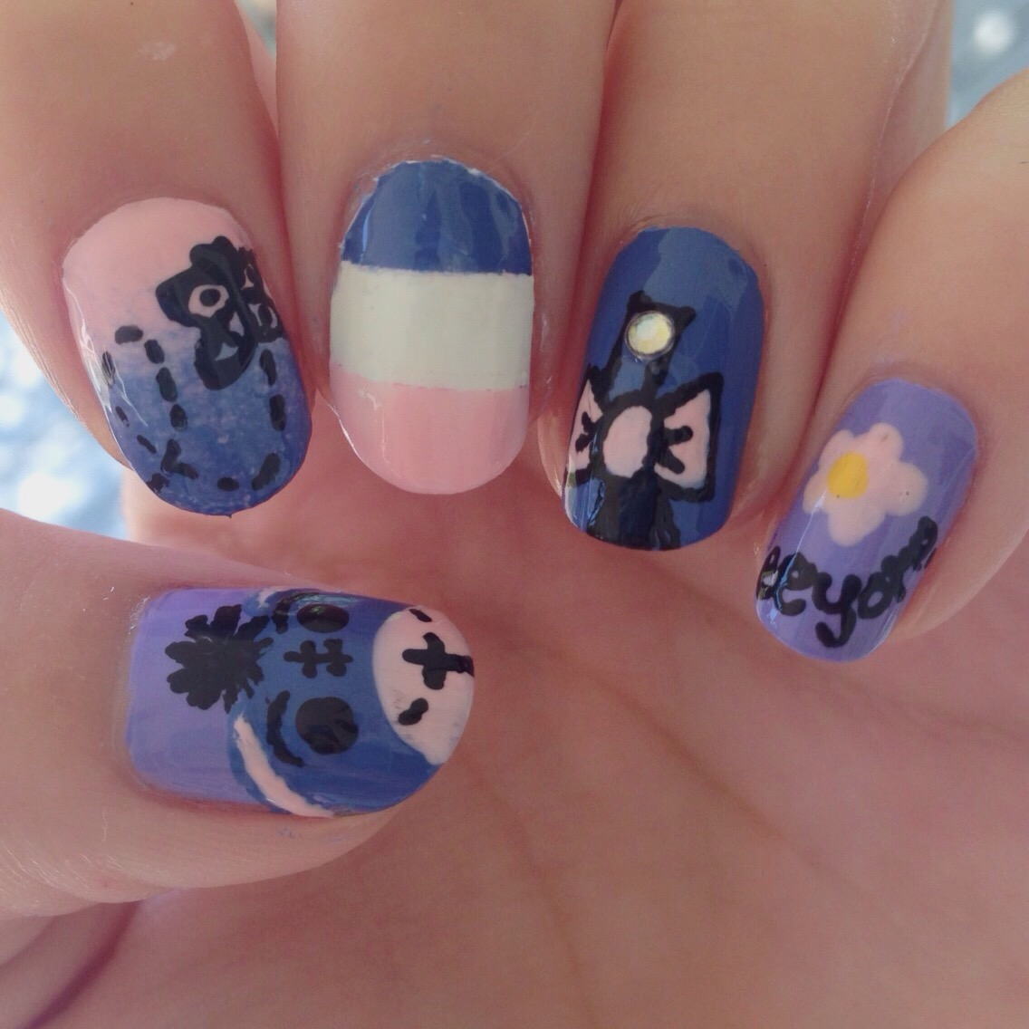 Nail Art By Katy Eeyore Nails From Winnie The Pooh