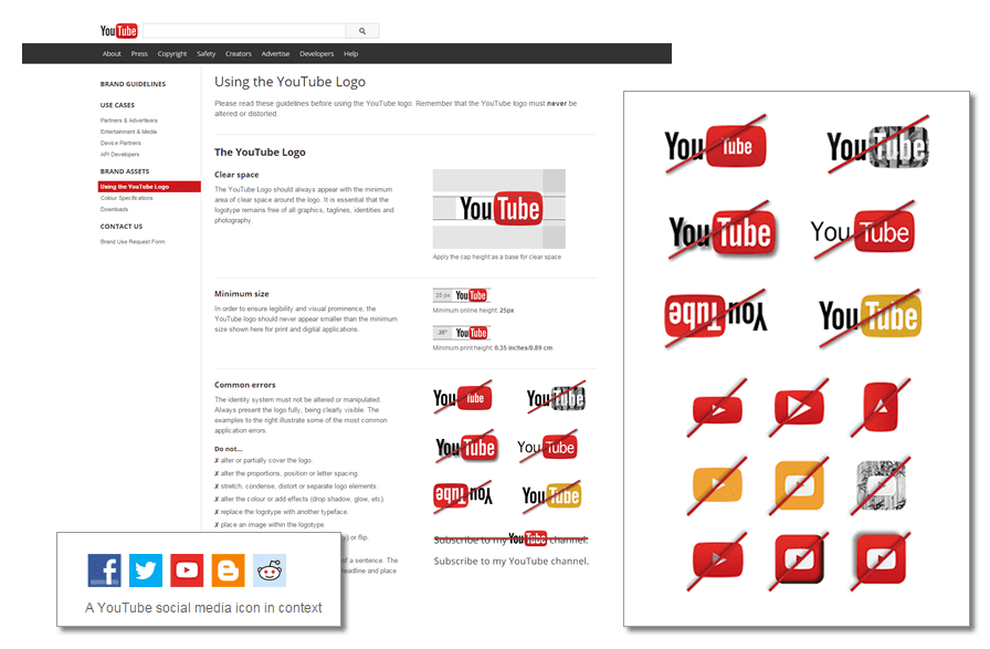 "A section from ""Using the YouTube Logo"""