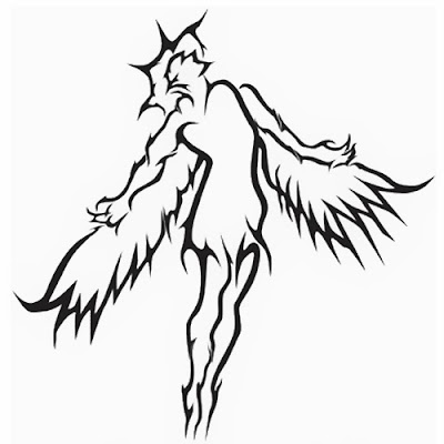 Angel flying tattoo stencil