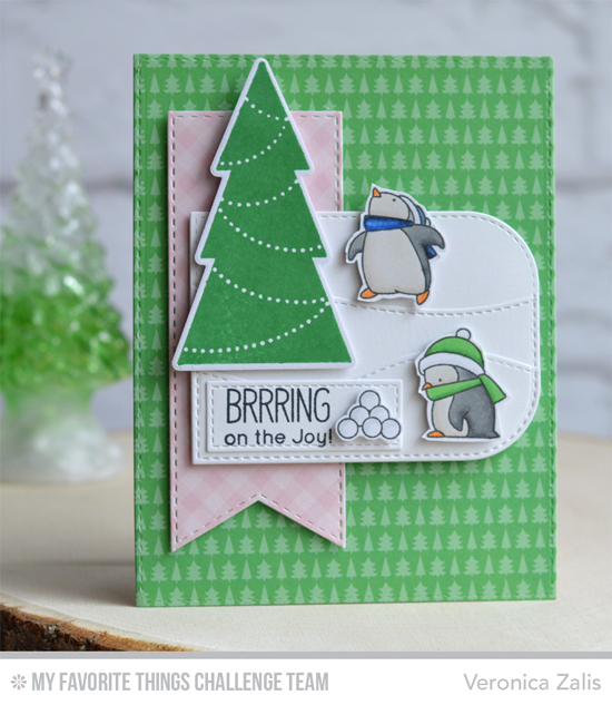 Joyous Penguins Card by Veronica Zalis featuring the Birdie Brown Toasty Greetings stamp set and the Lisa Johnson Designs Trim the Tree stamp set and Die-namics #mftstamps