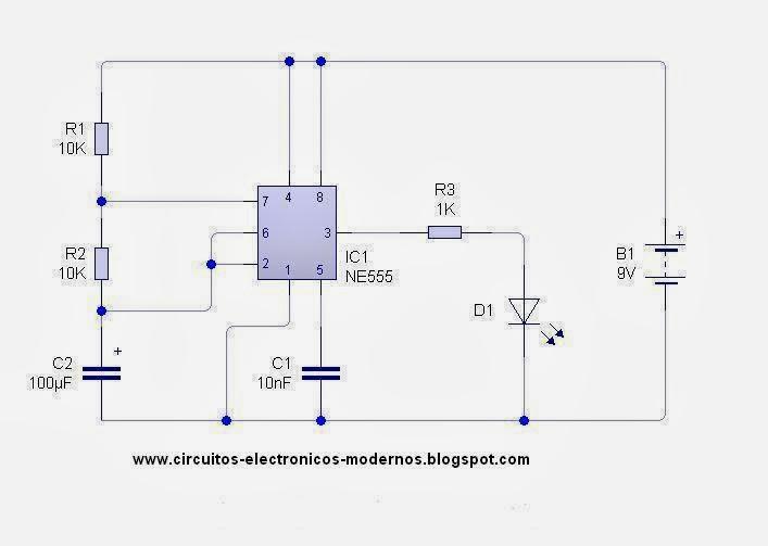 Circuito Led Intermitente : Circuitos electronicos modernos luz intermitente con