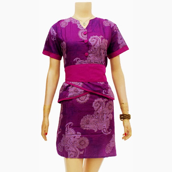 DB3658 Model Baju Dress Batik Modern Terbaru 2014