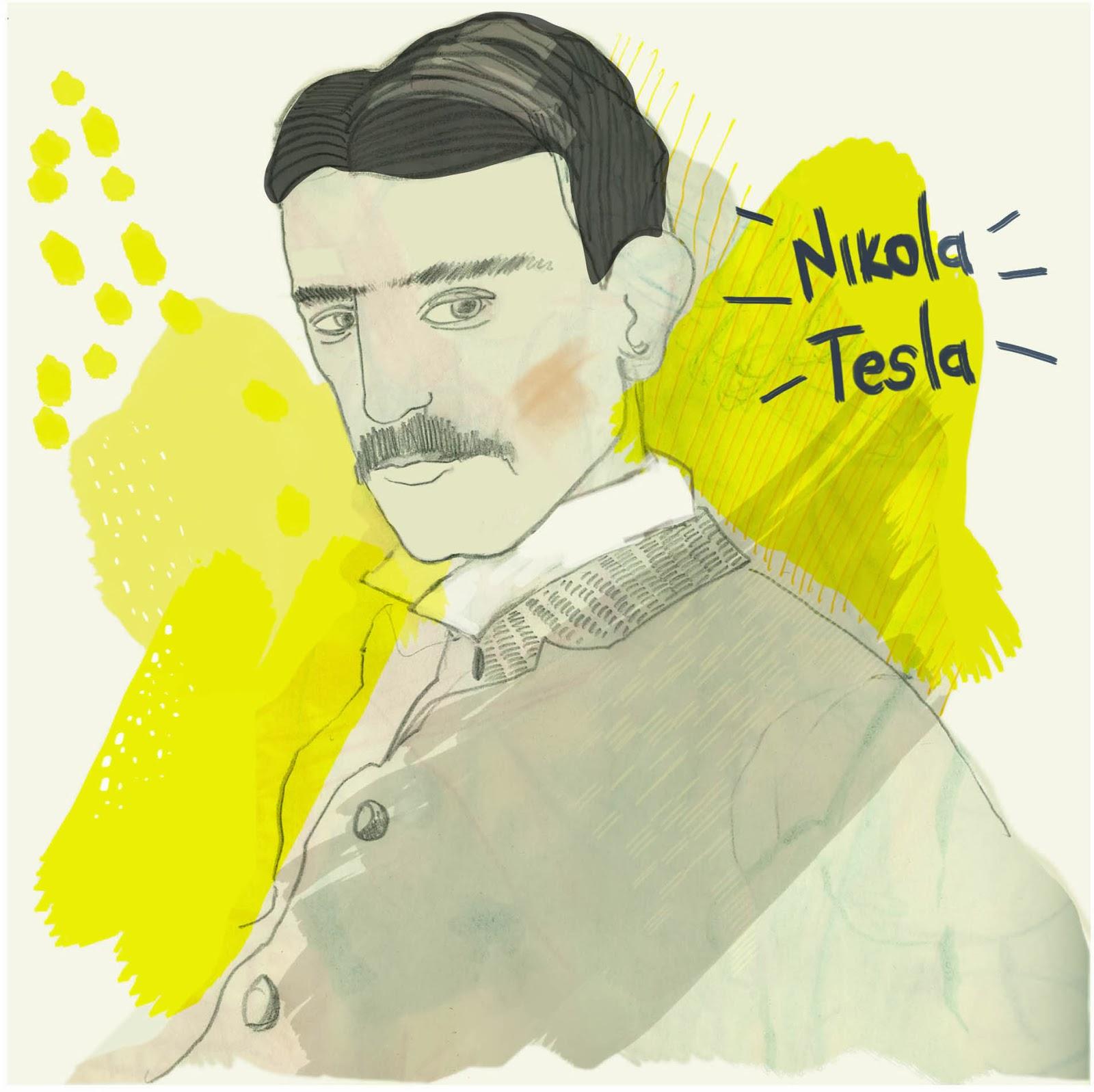 Ilustración de Nikola Tesla