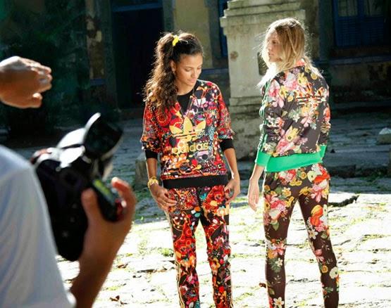 Farm e Adidas Originals coleção mix de estampas florais jaquetas e conjunto de moletom