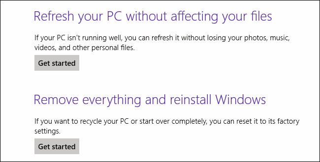 refresh or reset windows 8