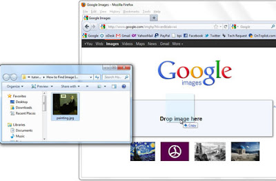 Drag and drop image on the Google Images window.